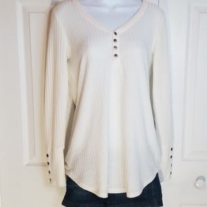 Chaser Cream Waffle V-Neck Thermal Pullover